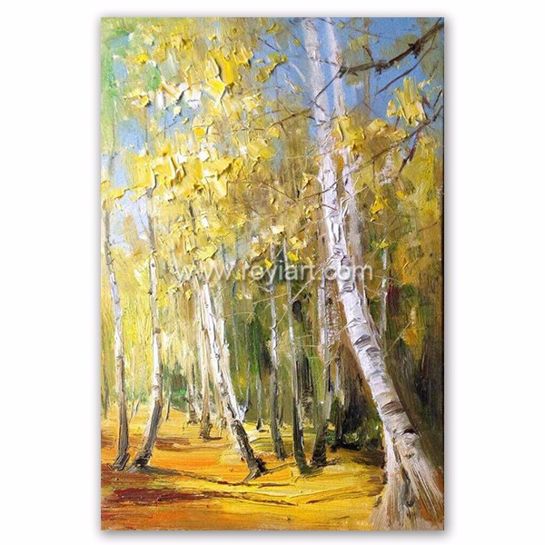 Custom Art Painting Famous Beautiful Modern Oil Painting of Autumn Birth Trees for Home Decor