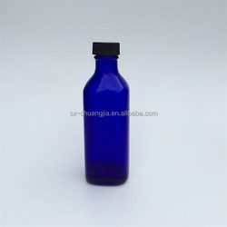 cosmetic packaging 100ml cobalt blue square rose water glass bottle with screw top black lid