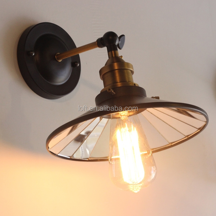 Vintage industrial iron art mirror umbrella shaped wall lamp for coffee shop/livingroom