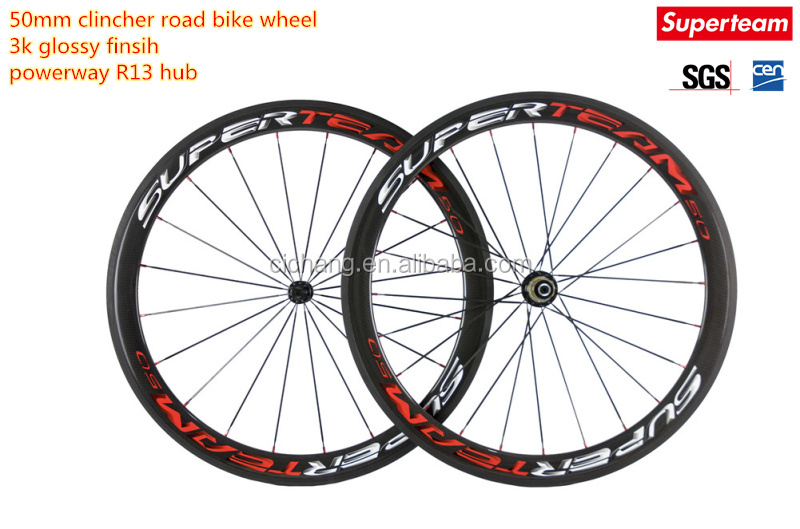 HIGH QUALITY FULL CARBON CLINCHER RACE WHEEL/ toray t700 carbon clincher wheels/ 50mm CARBON BIKE WHEEL CLINCHER