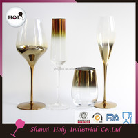 New style wholesale fancy wedding champagne gold colored stem champagne flute glass YHL16FL010