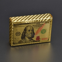 100 Dollar 24K Gold Plated Playing Card For Travel Collection