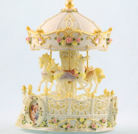 classical wooden toy carousel music box