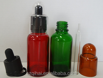 30ml,60ml,120ml E-juice e liquid colorful glass bottles with glass pipette and plastic cover