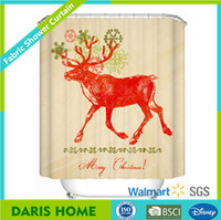 Polyester Custom Christmas Shower Curtain Hookless