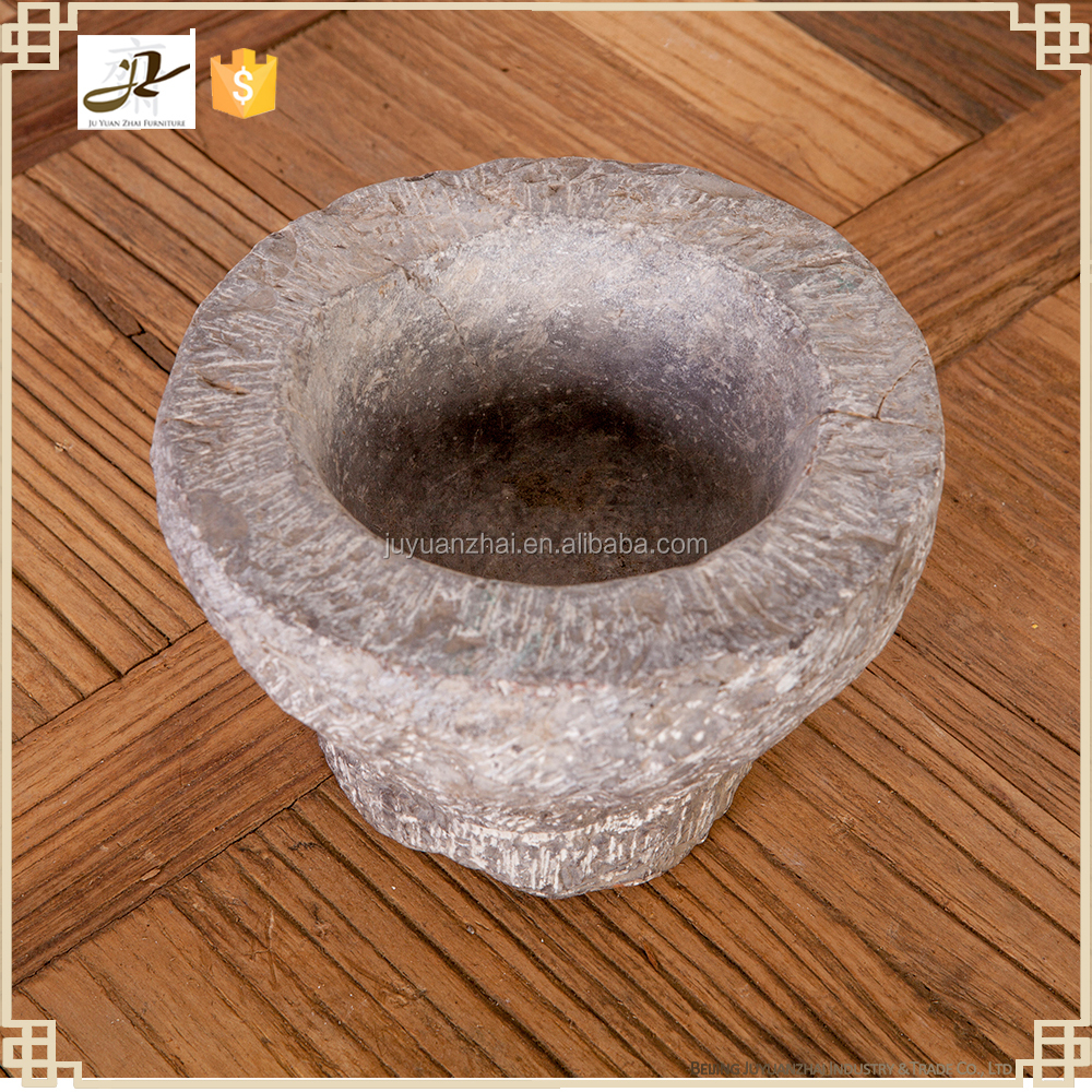 old natural stone mortal garlic stone crafts stone crusher home decoration