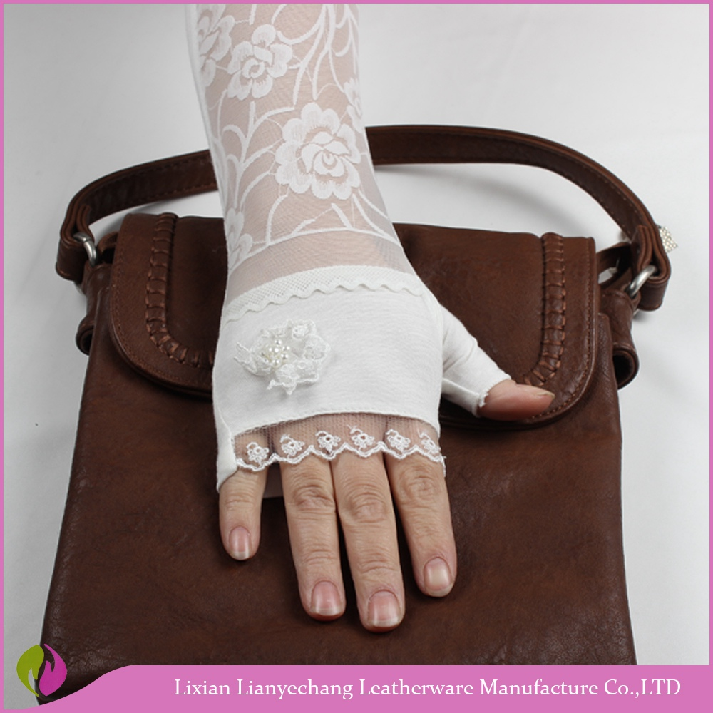 UV /Sun protection white lace cotton long driving fingerless gloves