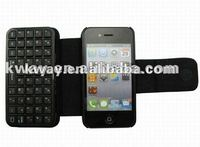 Portable Mini Wireless Bluetooth Keyboard + Leather Case for iPhone 4 4S KOA057