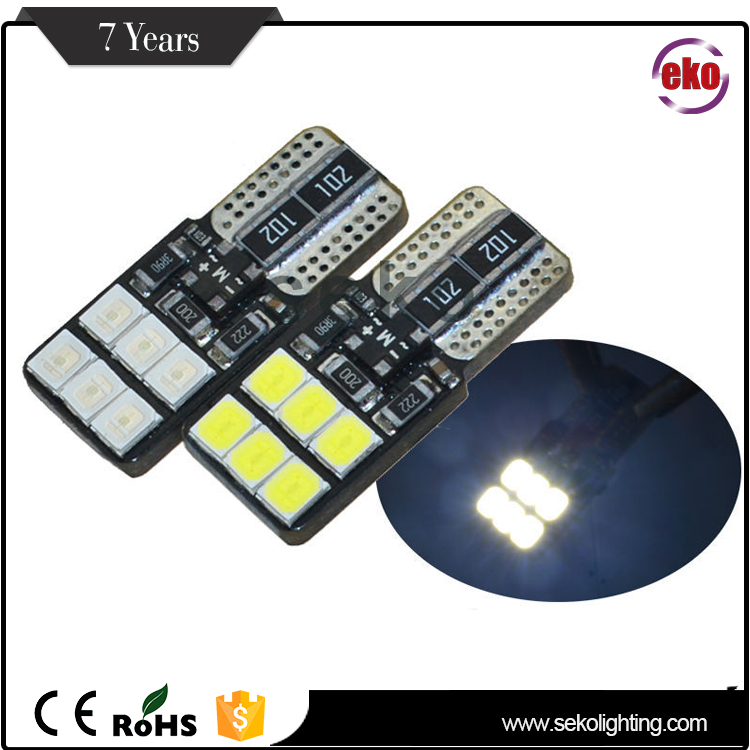 Factory Wholesale Price Canbus Auto Light Replacement Car Bulb 194 196 12Pcs Smd 2835 W5W T10 Led