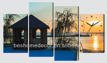 Sunset scenery digital dining room wall canvas clock in 4 pieces