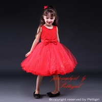 Hot Sale Red Baby Girl Party Dress With Glitter And Bow Fashion Princess Vestido Children Clothes GD80905-1