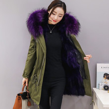 New Style Fox Raccoon fur Lining Coats Real fur Parka With Hood/China factory direct sales