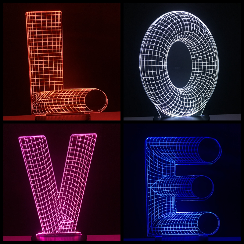 Remote Control Unique 3D Lighting Alphabet Letter U Colorful Flashlights Remote Controller Best Decoration for Home Bedroom New
