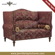 Middle East home furniture two seats sofa, high back upholstery exotic style red settee, cinema intimate sofa settee