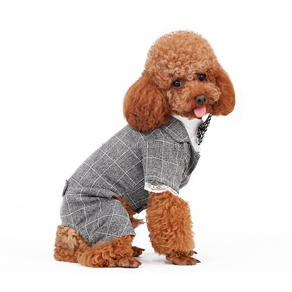 Quality Gentleman Dog Clothes Dog Wedding Suit with Bowtie