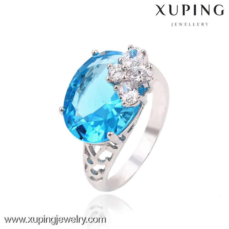 13363 China wholesale 925 sterling silver blue stone ring with AAA zircon stone the rings