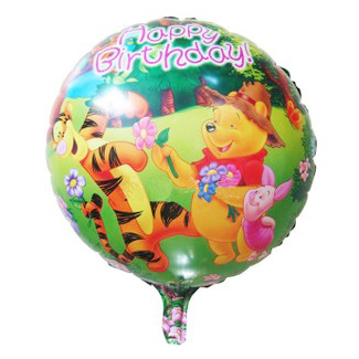 Wholesale 50pcs/lot 18inch Happy Birthday Winnie Bear Balloon Round Shape Balls for Birthday Party Decoration