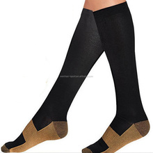Graduated support Mens copper black knee high compression/crossfit/ speed up socks