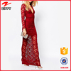 2016 New Designer One Piece V-neckline Long Sleeve Sexy Red Lace Maxi Party Dress