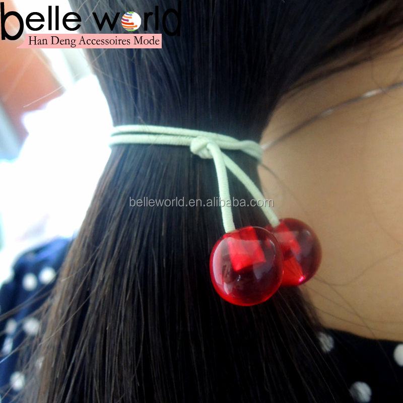 Wholesale Cherry Red Resin Beads Elastic Hair Band
