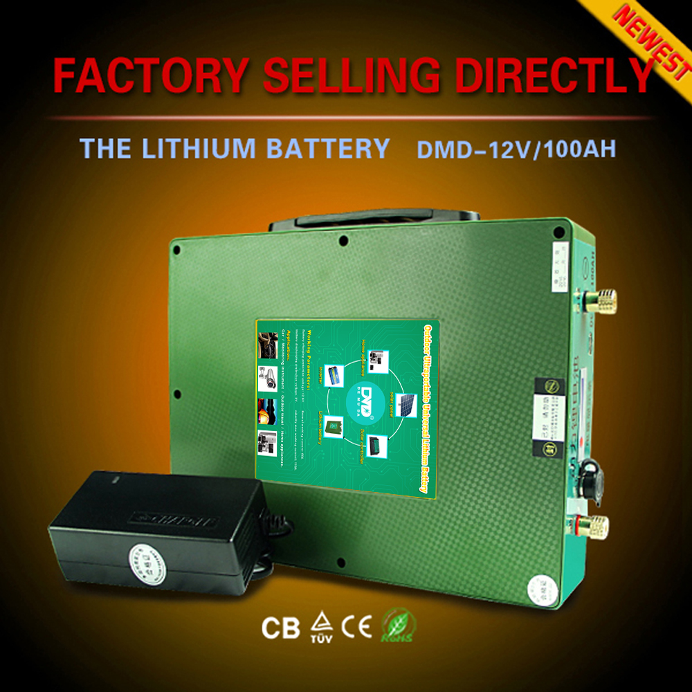 Rechargeable deep cycle lithium-ion dry cell battery 12v 100ah for car use