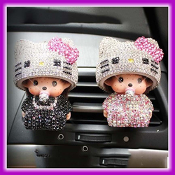 2016 New Design Cute Cat Monchhichi Air Freshener Car Vent Clip