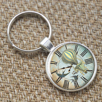 Victorian keyring, Hot Air Balloon on the Clock keyring glass Photo Steampunk Jewelry keyring