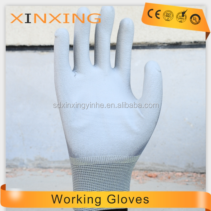 Top Fit Pu Coating Finger NIULANGXING Nylon gloves White