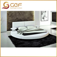 European leather bed king size round bed