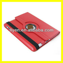 Magnetic Rotating Leather Case for the New iPad 3 Smart Cover With Swivel Stand 360 Degree Plain Synthetic Color Red