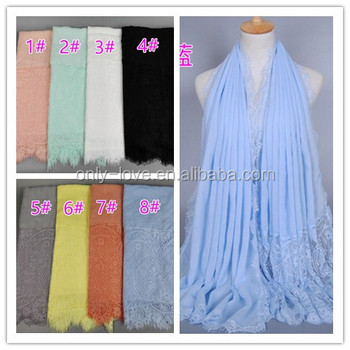 NEW design lace Women's cotton muslim hijab shawls headband islamic long scarves/scarf GBS328
