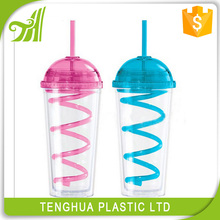 Custom logo print plastic double wall cup with round lid with straw