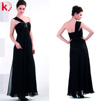 Gorgeous strap one shoulder black chiffon wedding evening dress women formal night party dress