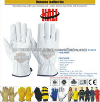 High Quality white Cow Grain / Goatskin Leather Drivers Gloves | Hand Safety Driver Work Gloves