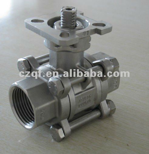 3pc ball valve with ISO 5211 direct mount pad