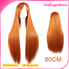 New Style Orange Long Straight Cheap Synthetic Cosplay Wigs