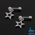 stainelss steel barbell jeweled ear tragus piercing dangling star