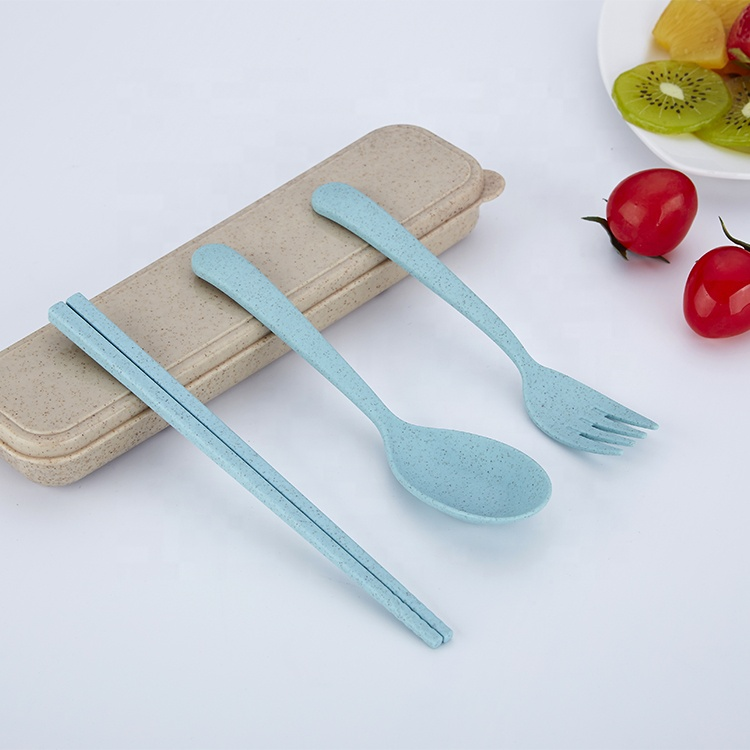 Eco-friendly kids wheat portable cutlery <strong>set</strong> 3pcs <strong>set</strong> chopstick fork spoon with the wheat box