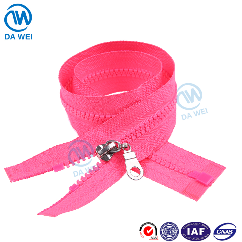 DAWEI brand TOP SALE BEST PRICE!! strong packing big teeth plastic zippers for promotion