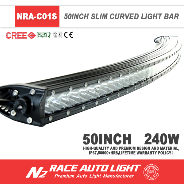 New Design WaterProof Super bright Offroad truck 3D reflector curved single row 240w led light bar 50''