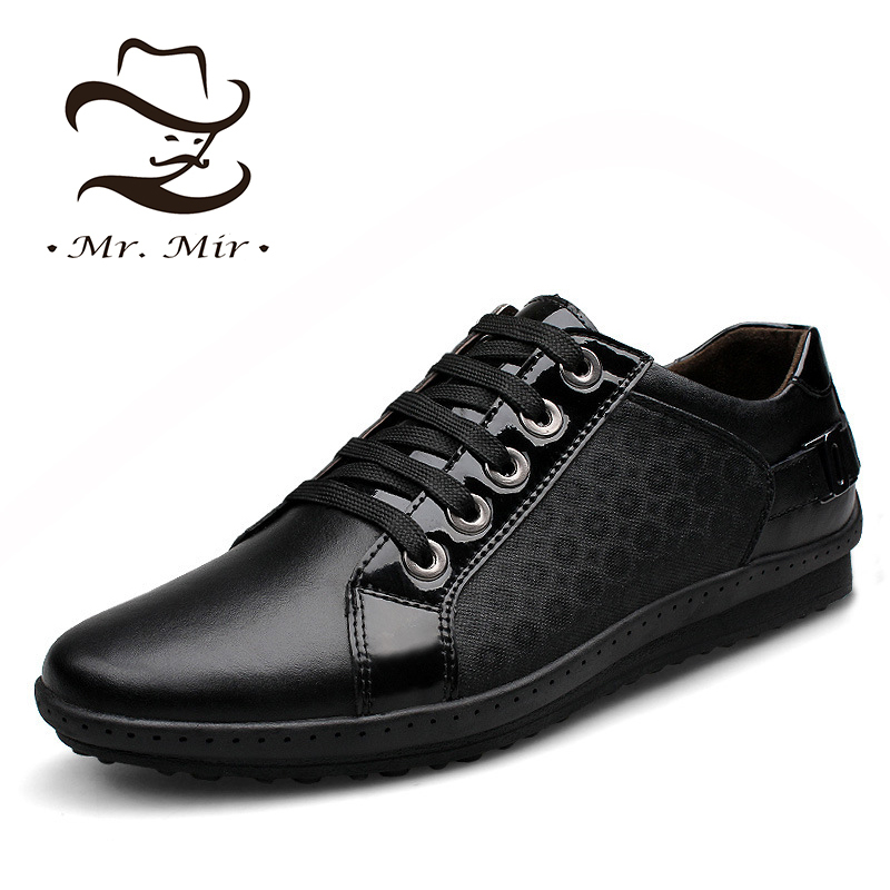 Mr Mir Plus Size Genuine Leather Fashion Men Sneakers, Brand Casual Leather Men Flats, Breathable Spring Autumn Men Shoes