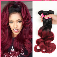 Cheap brazilian human hair ombre color human hair weft wet and wavy ombre colored indian human hair weave