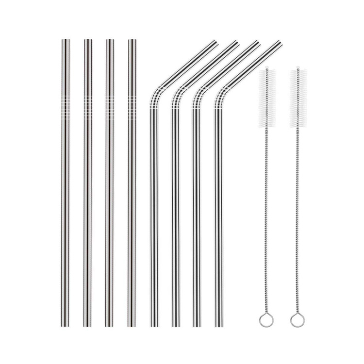 wholesale reusable colored 304 metal stainless steel drinking straws set