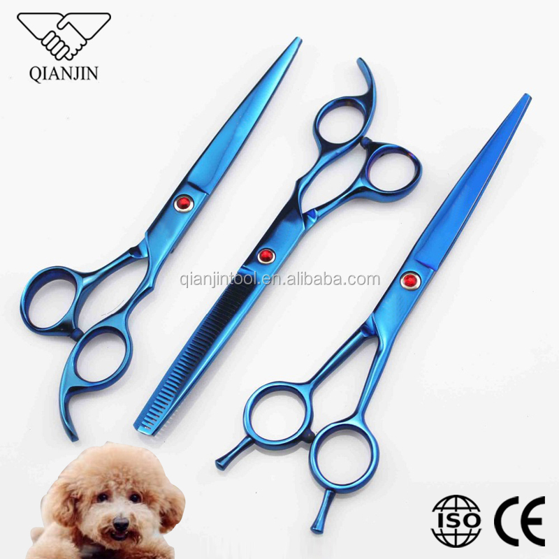 pet grooming tool set with blue tiatanium dog scissors and thinning shears