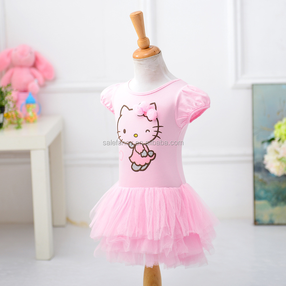 Summer princess high quality flower girls dresses Hot sale White girl color hello kitty dress QGD-8522