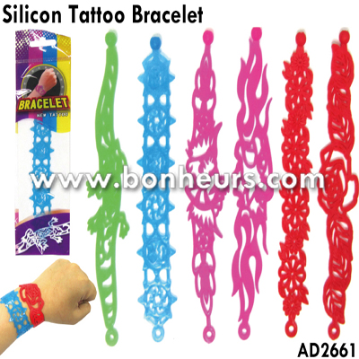 New Novelty Toy Tpr Promotion Strap Tattoo Silicon Bracelet Band