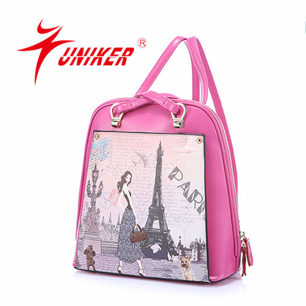 Pink PU pull school bag for girls use school bag for teenagers girls