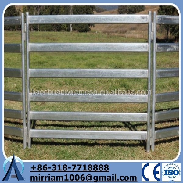 Anping factory high quality 6 rail panel welded tubular metal livestock farm fence panel/iron pin fence/cover for wall fence
