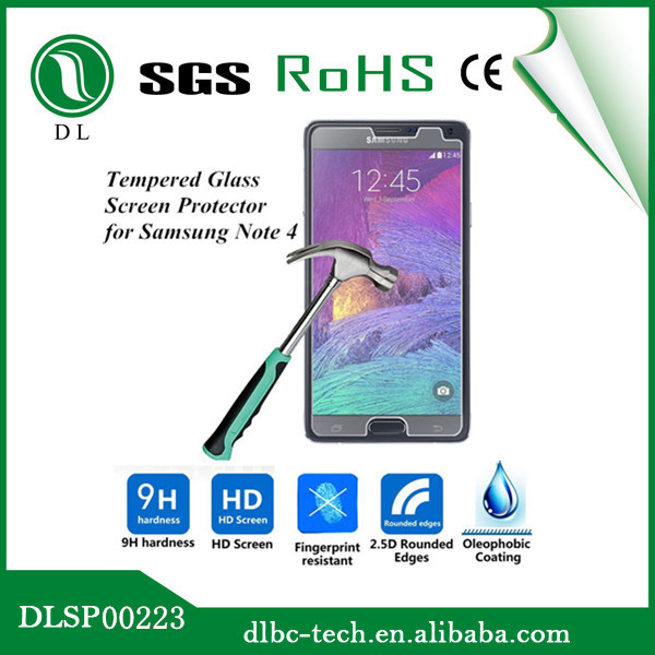 for Samsung galaxy note 4 tempered glass screen protector 9H 0.33mm screen protector for note 4