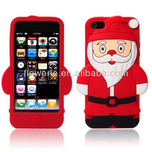 FL725 Santa Claus case cover for iphone 5.cute christmas case for iphone 5,3d cartoon soft silicone cover for iphone 5